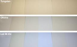 Papeles de producción típicos en ambientes con diferentes niveles de UV
