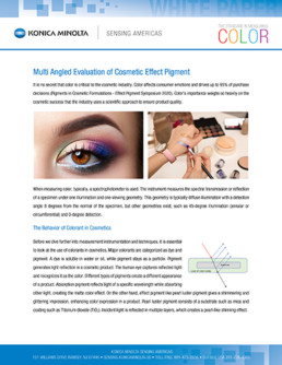 Multi angled evaluation of cosmetic effect pigment