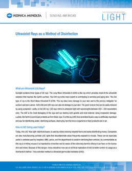 Ultraviolet Rays as a Method of Disinfection