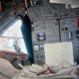 Interior photo of an Apollo capsule