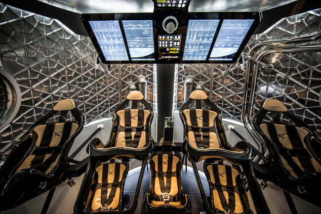 Interior of a modern space capsule