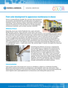 From color development to appearance maintenance in stucco